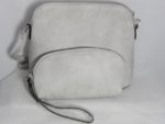 LIGHT GREY PURSE WITH ZIPPER DESIGN AND GOLD HARDWARE 3 IN 1