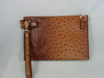 TAN FAUX OSTRICH PURSE WITH A WRISTLET