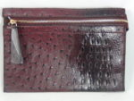 MAROON FAUX OSTRICH PURSE WITH GOLD HARDWARE
