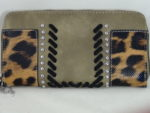 MONTANA WEST BROWN PURSE WITH LEOPARD AND RHINESTONES AND BLACK STITCHING