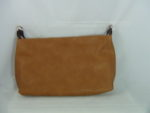 DARK TAN HANDBAG WITH BROWN HANDLES AND GOLD HARDWARE