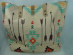 MONTANA WEST LIGHT TURQUOISE TOTE WITH INDIAN HEADDRESS AND ARROW DESIGN