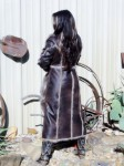 Cascade Brown Leather And Faux Fur Long Coat