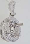Oval Semi-Mount White Gold Diamond Pendant
