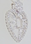 Semi-Mount Filigree Heart Diamond Pendant