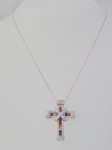 Multi-Colored Sapphire & Diamond Cross Necklace