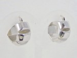 White Gold Wide Earrings with Notches