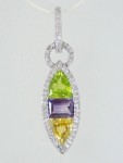 Marquise Shapped Citrine, Amethyst, Peridot, & Diamond Earrings