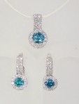 Blue Diamond Earrings with White Diamond Halo