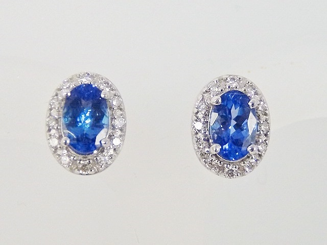 Oval Tanzanite Earrings With Diamond Halo