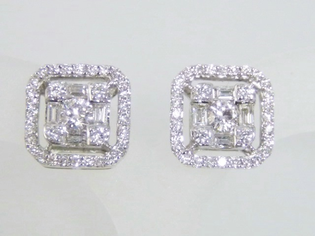 Round Baguette Square Diamond Earrings