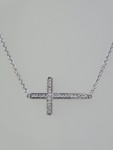 Blue & White Diamond Reversible Sideways Cross Necklace