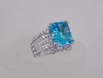 White Gold With Blue Topaz And Diamonds