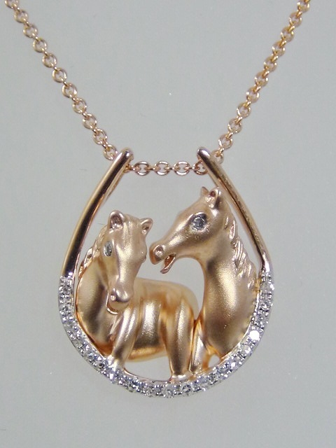 Rose gold diamond horse shoe necklace with rose gold horses rose gold diamond horse shoe necklace with rose gold horses aloadofball Image collections