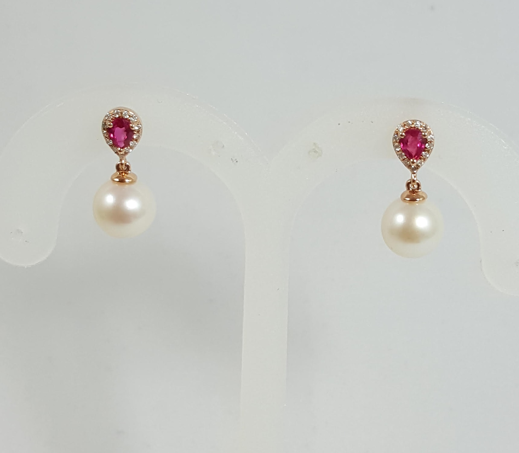 Rose Gold Dangle Earrings With Pearl Ruby And Diamonds