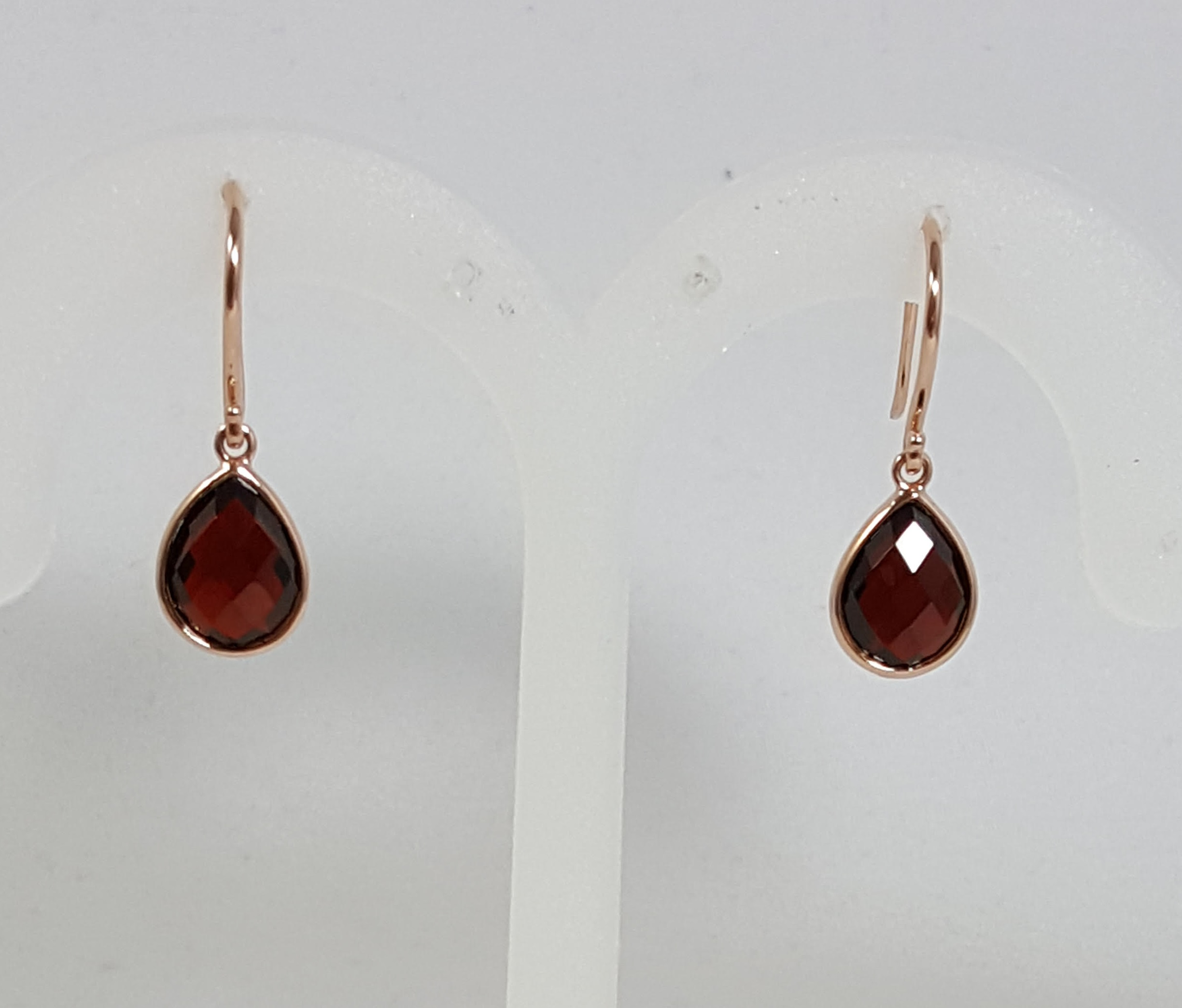 Rose Gold Garnet Earrings